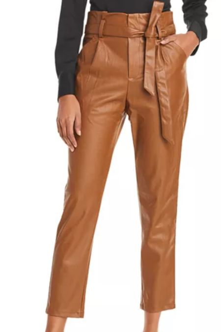 Faux leather pants with tie waist.  Also available in black and under $100   #LTKunder100 #LTKSeasonal #LTKstyletip