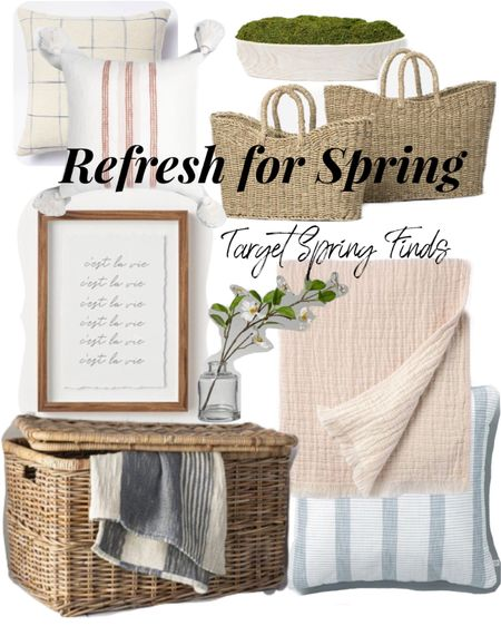 Spring Home Decor Finds from Target! 🌿Give  your space a fresh yet cozy feel for Spring!🌿🌸 Bring in the cozy feels with the rattan stage bin, a muslin throw from Studio McGee and throw pillows!  Liven & freshen up your space by bringing in the greenery, like the faux fern or beautiful spring wreath!! 🌿🌿   Follow me on the LIKEtoKNOW.it shopping app to get the details on these products and much more!🍃🙌  Natural Seagrass Basket Studio McGee Framed Art Rattan Basket Hearth and Hand Finds Greenery Decor Affordable Spring decor  Throws and Pillows     http://liketk.it/3eVwW #LTKhome  #LTKstyletip #LTKunder50 #liketkit @liketoknow.it.home @liketoknow.it