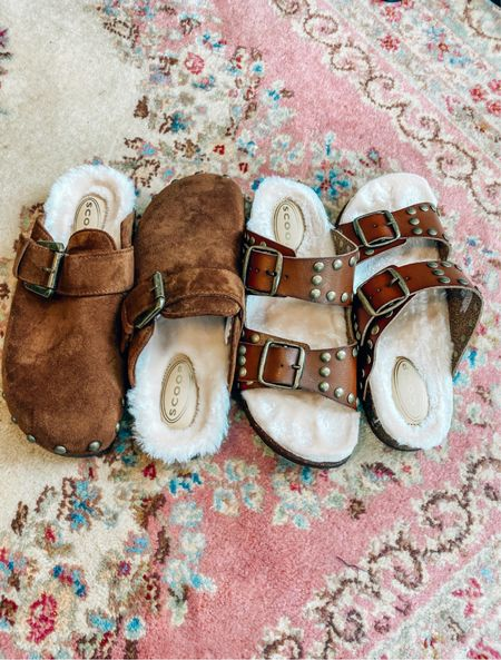Warm and cozy shearling slides for fall!
