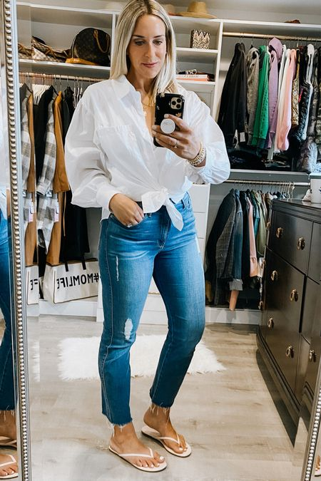 Real outfit of the day  White button down shirt with puff sleeves   Frame Le Sylvie crop jeans - so soft and stretchy. They don't feel like jeans. Mine have some distressing. The ones I'm linking as part of the #nsale are not distresses   Tkees flip flops - size up a half size. Use code: SARAH10 for 10% off.