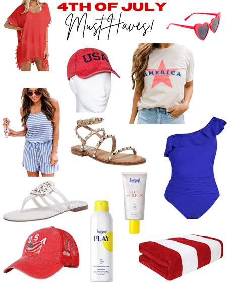 4th of July outfit ideas and beach + pool must haves! @liketoknow.it http://liketk.it/3it5e #liketkit #LTKbeauty #LTKswim #LTKtravel #usa #redwhiteandblue #swimsuit #swimsuitcoverup #sunscreen #supergoop #sandals #cap #4ofjuly