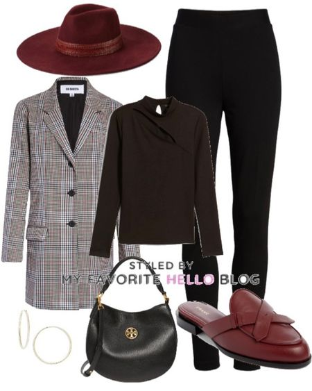 Blazer looks Fall outfit for work. Nordstrom anniversary sale fall work outfit with blazer and burgundy hat and mules #nordstrom #nsale #falloutfit   #LTKunder100 #LTKstyletip #LTKsalealert