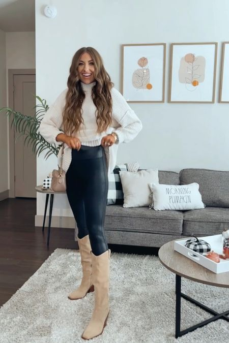 Style an oversized sweater with Spanx leggings and knee high boots for fall! Fall outfit ideas! Aerie sweater!