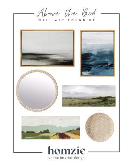 Above the bed wall art, wall art, framed art, abstract art, coastal art, wall art, wall basket, wooden mirror, landscape art, affordable art, budget friendly art   #LTKhome