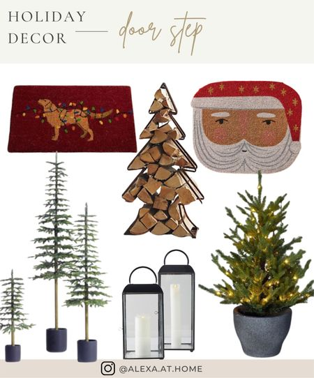 Holiday decor - door step    Holiday front porch , front porch decor , holiday door step , Christmas door step, Christmas front porch , doormat, outdoor Christmas trees, faux outdoor Christmas trees   #LTKSeasonal #LTKhome #LTKHoliday