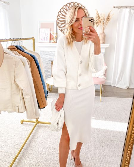 Featuring this versatile ribbed white dress in today's Friday Five, with this cozy white cardigan. How pretty are these rhinestone buttons?! http://liketk.it/2Vpw2 #liketkit @liketoknow.it #LTKsalealert #LTKstyletip #LTKunder50