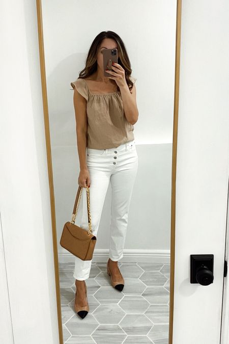 Top in xs (it's on the boxy side, you could size down). Jeans tts. Shoes and bag no longer available. Linking similar options.   #LTKstyletip #LTKunder50