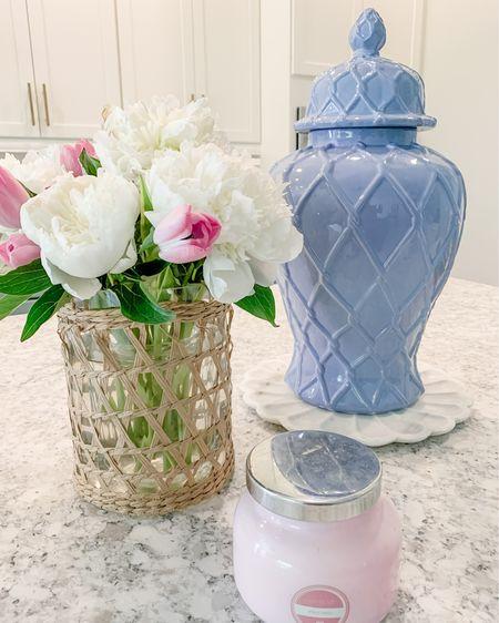 Summer kitchen styling. Peonies, ginger jar, rattan hurricane   #LTKstyletip #LTKunder100 #LTKhome http://liketk.it/3gCwK #liketkit @liketoknow.it