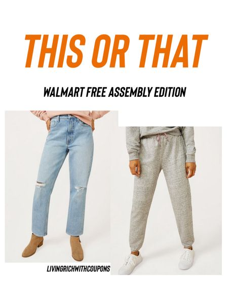 http://liketk.it/3903S #liketkit @liketoknow.it I'm loving the new @walmart Free Assembly line! I thought I'd do a #thisorthat with these comfty joggers and trendy jeans! #LTKunder50