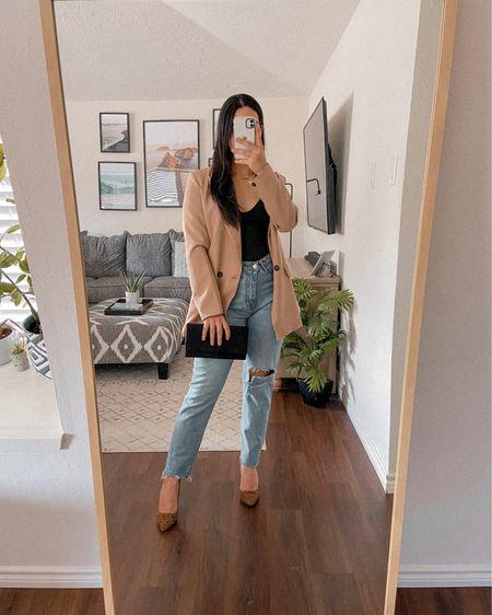 Get 15% off SHEIN with code Q3YGJESS  Get 15% off Awe Inspired Jewelry with code: JESSICAMELGOZA_  Blazer, bodysuit, denim jeans, leopard heels, black clutch, amazon fashion, SHEIN style, fall outfit   #LTKitbag #LTKunder50 #LTKsalealert