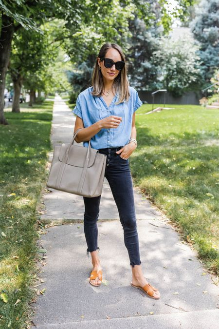 Black skinny jeans, chambray shirt and tote bag with flat sandals   #LTKstyletip #LTKworkwear
