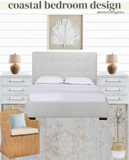 Modern coastal bedroom design! This is a good mix of high and low pieces- what item do you usually spend the most on?   #pinterestingplans   #LTKunder100 #LTKunder50 #LTKhome
