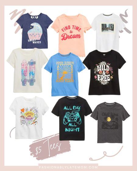 Back to school ready with $5 tees for the kids! #graphictees #ltkkids #backtoschool #kidsfashion