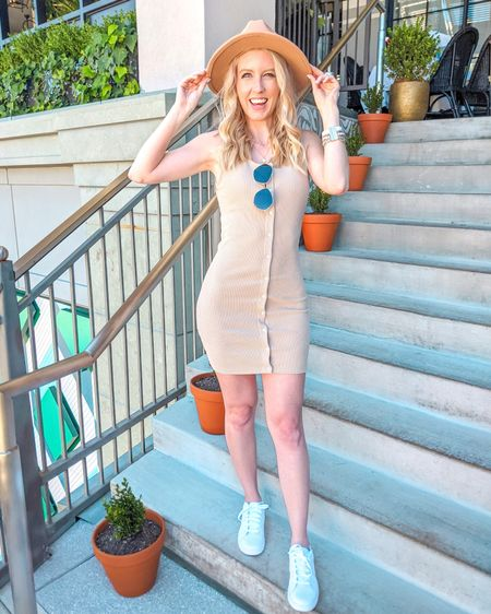Pink Lily Boutique dress. Casual spring summer style. Spring dress, summer dress, casual dress, button down, white sneakers, Nike Court Royale 2, fedora hat, oversized sunglasses, bracelet, boho cuff. http://liketk.it/3f1Vf @liketoknow.it #liketkit #LTKstyletip #LTKunder50 #LTKunder100 #LTKshoecrush #LTKtravel #LTKfit