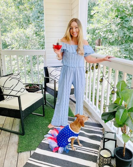 Red, wine & blueee. 🇺🇸 Our patio is finally done and just in time for the 4th of July! Can't wait to spend more time out here this summer. I linked all our patio decor & this cute summery set (wearing a size small). #liketkit @liketoknow.it http://liketk.it/3j0YY #LTKhome #LTKsalealert #LTKstyletip