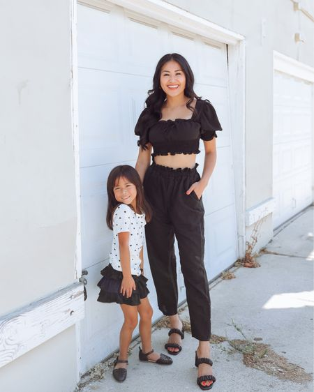 Mommy and me black and white outfit . Cropped top pant set   #LTKstyletip #LTKshoecrush #LTKSeasonal