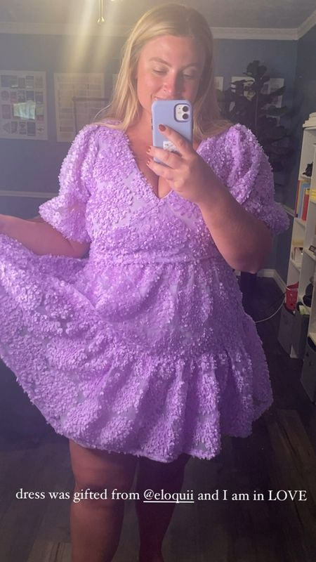 This lavender mini dress with beautiful texture details runs true to size. I also think this is a great plus size dress for those searching for wedding guest outfits or bridal shower outfits — it's also 40% off!   #LTKsalealert #LTKcurves