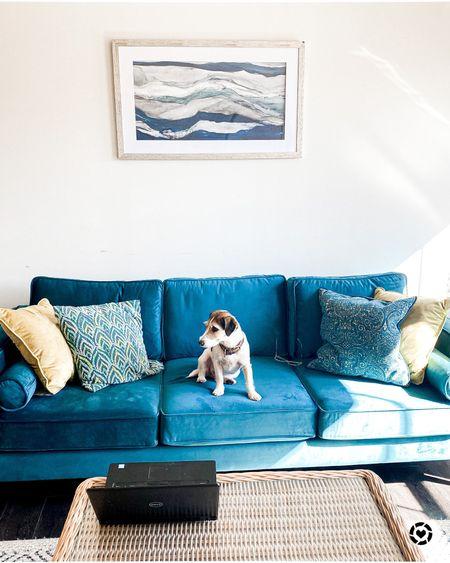 Lindel sofa Wayfair home Velvet square arm with reversible cushions Blue velvet  Living room furniture  Under $1000 couch   #LTKhome #LTKsalealert #LTKstyletip
