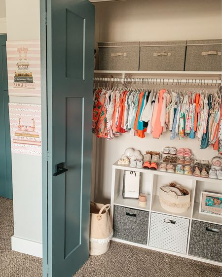 Ellie's closet is reorganized, at least for the moment ✔️😅 #toddlerroom Added these designer inspired canvases, which adds a little pink to her neutral decor. Also moved her shoes + shoe organizer to the top in hopes of preserving order, even though she maniacally destroys everything in reach 😂 Linking the canvases, storage bins+ baskets, cube organizer, shoes and cubes in the @liketoknow.it app or shop through the link in my bio! http://liketk.it/3i4nd  #liketkit #LTKfamily #closetorganization #nurseryinspiration #nursery #kidsroom #homeorganization #nurserycloset #LTKhome #mommyblogger #closetdoors #mombloggers - - - - - - - - - #toddlershoes #nurserydesign #nurserydecor #target #founditonamazon #closetgoals #LTKbaby #nurseryorganization #toddlermom #kidsroomdecor #nurseryideas #babyroom #closet #homeblogger #modernfarmhouse #primeday