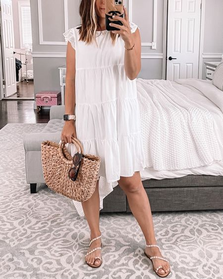 I'm obsessed with this white dress!  The white is lined and not see through.  Wearing size small for reference.  Follow my shop on the @shop.LTK app to shop this post and get my exclusive app-only content!   #LTKunder50 #LTKstyletip #LTKshoecrush