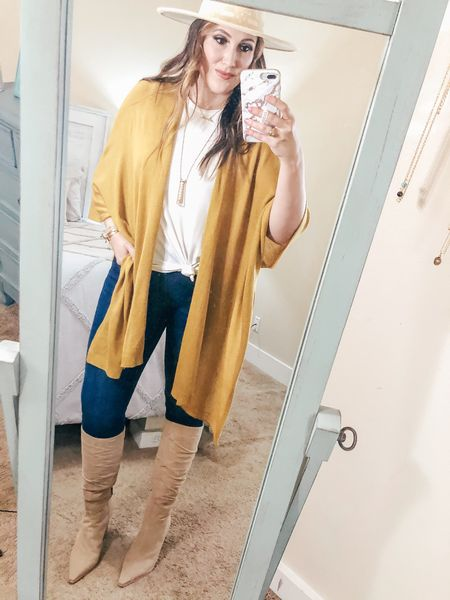 Y'all - this is the first time I put jeans on since the start of quarantine. 😳 I'm happy to report that they still fit! 😅🙌🏼 I snagged this $15 knit #kimono from @walmart and if you're following me on TikTok - you'll see I styled it 3 different ways. 💛 I'm so ready for cooler weather, how about you?! @liketoknow.it http://liketk.it/2WFdl #liketkit #LTKstyletip #LTKunder50