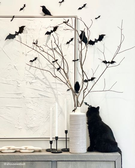 Our Halloween decor in our dining room has started on the sideboard. I swapped out our fall display for some fun spooky branches, bats, and birds!
