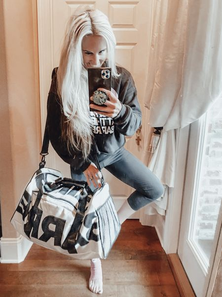 """Any GUESSES what I'm smuggling in my NEW BARRE GAINS duffle bag??? ❤️🙃 . . ….And my shirt says """"TUCK IT!!!!"""" At the barre. It's not what you think!!! Get your mind out of the gutter 🗑   #LTKfit #LTKSeasonal #LTKtravel"""