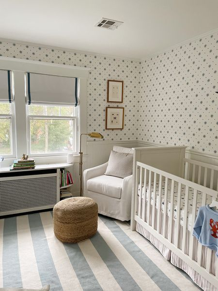 Baby boy nursery, blue and white nursery, natural pouf, home decor   #LTKunder100 #LTKbaby #LTKhome