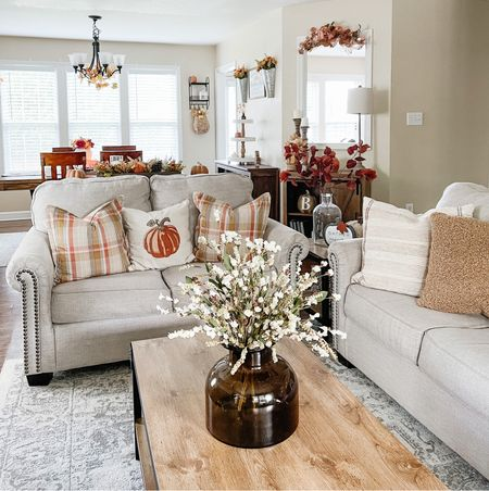 My cozy fall family room neutral fall living room Target fall decor Target finds   #LTKhome #LTKSeasonal
