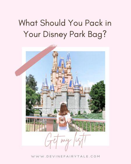 Items to pack in your Disney Park Bag! 💗 Disney Loungefly Backpack, ShopDisney, Disney Vacation, Disney Tips #liketkit #LTKtravel @liketoknow.it http://liketk.it/3d033