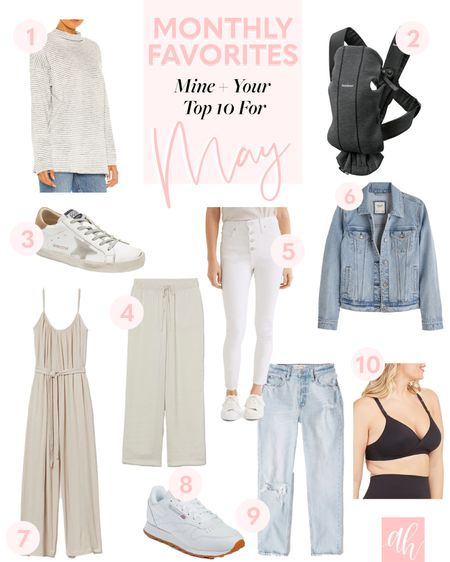 Top products for May, denim jacket, baby carrier, tennis shoes, white denim, H&M finds http://liketk.it/3h1xv #liketkit @liketoknow.it