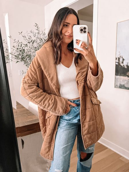 Forever 21 finds: Quilted longline coat: true to size (S) oversized Sweater tank: true to size (S)  Jeans: true to size, size up for looser fit (29) -   #LTKunder50 #LTKSeasonal #LTKsalealert