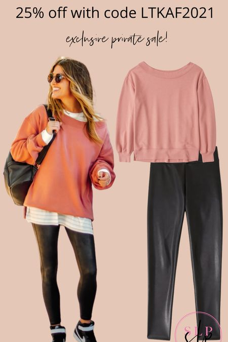 Abercrombie, oversize sweatshirt, so leather leggings, off the shoulder sweatshirt, the sister studio, fall outfit idea, casual outfits, holiday gift ideas  #LTKsalealert #LTKunder100 #LTKHoliday