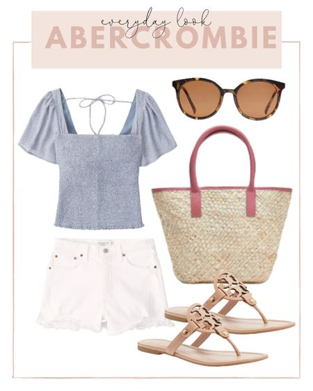Casual summer look: pair white mom denim shorts with a blue blouse and Tory Burch Miller sandals. http://liketk.it/3hjfb #liketkit @liketoknow.it