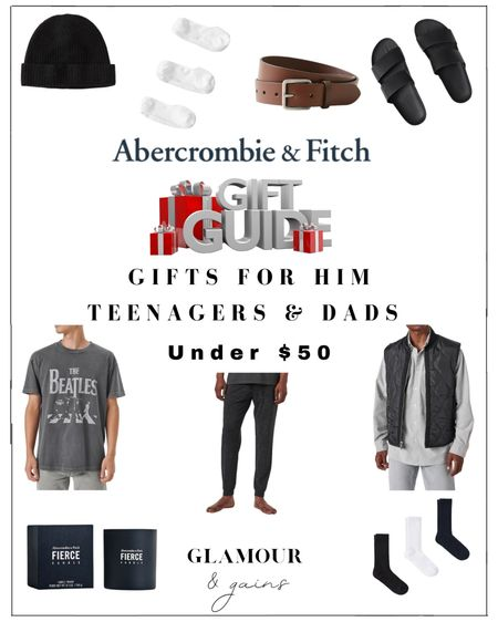 Men's gift guide under $50. The best Abercrombie & Fitch gifts for him in men's fashion, accessories & fragrance from A & F. Perfect stocking stuffers & gifts for teenagers, sons, husbands, boyfriends & Dads. Men's socks, men's belts, men's graphic tshirts, candles & puffer vests under $50 🎁   #LTKunder50 #LTKGiftGuide #LTKHoliday