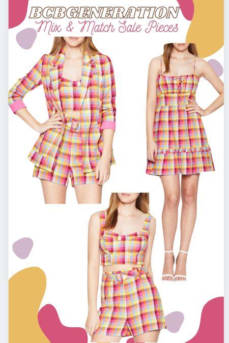 Bcbgeneration plaid blazer, bustier crop top, shorts & dress. #LTKunder100 #LTKsalealert #LTKstyletip http://liketk.it/3k6ir #liketkit @liketoknow.it
