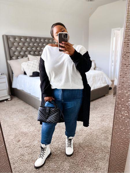 Plus size fall outfit inspo, black cardigan, off the shoulder top, plus size jeans, white & black boots, fall boots, fall outfit, plus size fashion.  #LTKstyletip #LTKcurves #LTKunder50