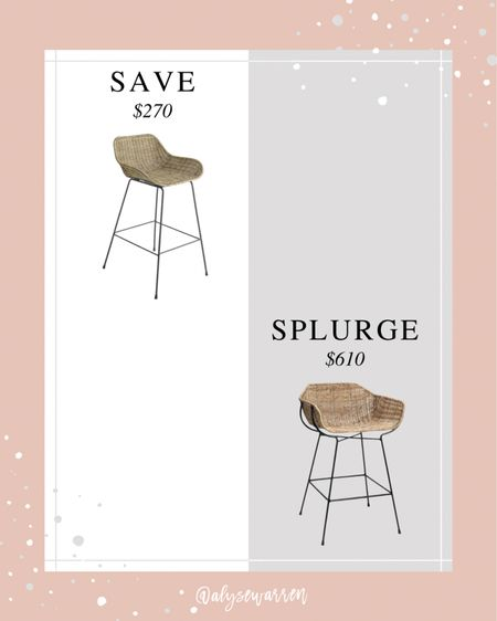 McGee & Co. inspired counter stool for a lot less!  Woven counter stool, rattan, kitchen decor, home decor, Wayfair   #LTKhome