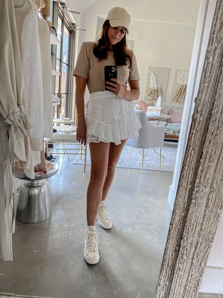 Favorite tee and white skirt for summer / capsule wardrobe / cap / amazon fashion / nsale / hi top sneakers / easy casual look   #LTKunder50 #LTKsalealert #LTKstyletip