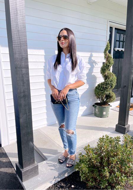 Obsessed with these boyfriend jeans! I'm wearing size 6. They run TTS   #LTKunder100 #LTKbeauty #LTKsalealert