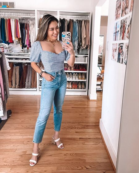 Express Petite friendly mom jeans - 00 petite / TTS  Abercrombie floral puff sleeve sweetheart neckline blouse - 15% off with AFBELBEL Steve Madden White heel sandals - 5.5 / TTS  Weekend casual mom summer outfit   @liketoknow.it http://liketk.it/3jXCU #liketkit #LTKsalealert #LTKunder100 #LTKstyletip