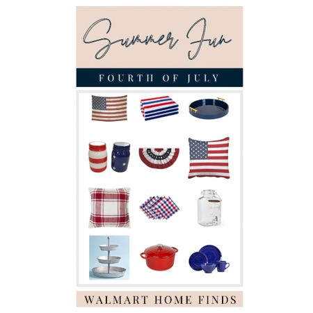 4th of July. Fourth of July. July 4th decor. Patriotic decor: red white and blue decor. America. USA, American flags, Walmart finds.     #LTKunder50 #LTKhome #LTKSeasonal