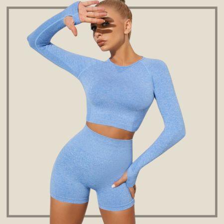 Sports top with matching shorts activewear set  #LTKunder50 #LTKstyletip #LTKfit