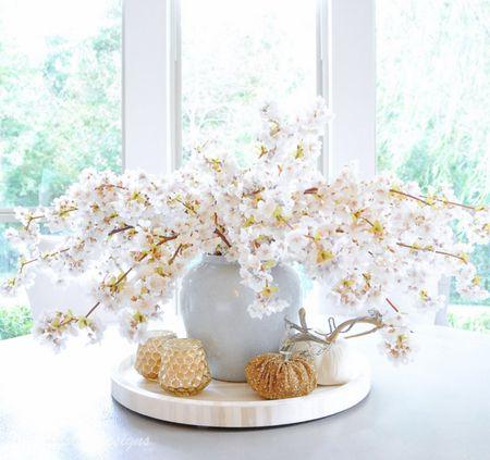 Fall decor Tray, vase, faux stems, home decor