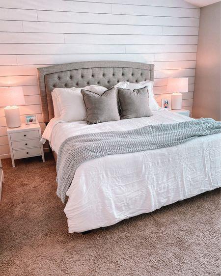Ashley furniture Jerary bed. Casaluna bedding from Target. Wayfair white night stands. #liketkit @liketoknow.it http://liketk.it/3jJxS #LTKhome