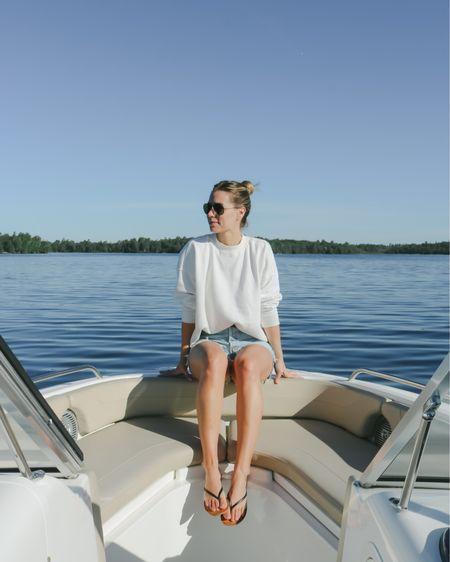 Jean shorts Crewneck sweatshirt Boating weather  http://liketk.it/3h27r @liketoknow.it #liketkit #LTKunder100
