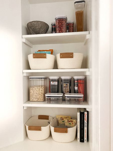 home organizing, pantry, plastic bins, woven bins for snacks, cabinet organizer, cook books, kitchen home decor + hacks, target home, amazon finds, neutral home style, container  Follow my shop on the @shop.LTK app to shop this post and get my exclusive app-only content!    #LTKhome #LTKSeasonal #LTKunder50