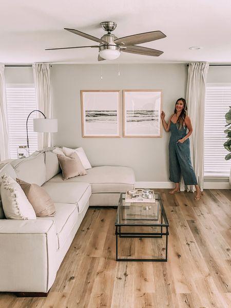 Living room decor - frames from frameiteasy.com (custom size!) Waves artwork linked here. Jumpsuit - tts.   #LTKhome #LTKunder50 #LTKstyletip