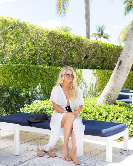 Swimsuit, swimsuit coverup, studded Sandals, straw bag, beach tote, pool tote, white coverup, black wide brimmed hat. @liketoknow.it #liketkit http://liketk.it/3cuXV