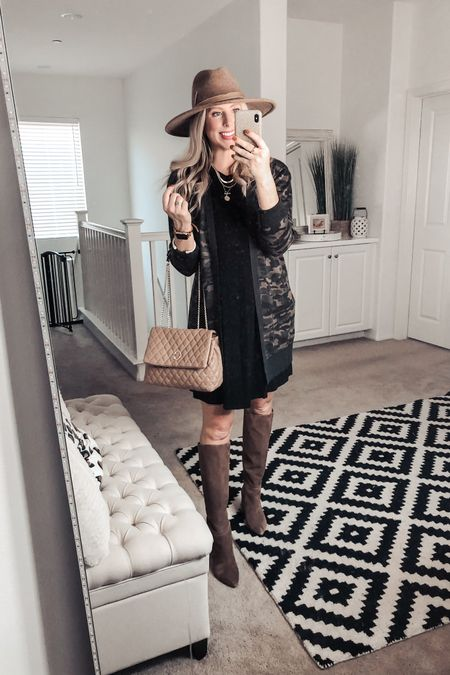 Under $20 camo cardigan is easily styled with this black swing dress for a fall outfit!  Small dress Small cardi   http://liketk.it/2XWr5 #liketkit @liketoknow.it #LTKunder50 #LTKstyletip #LTKitbag